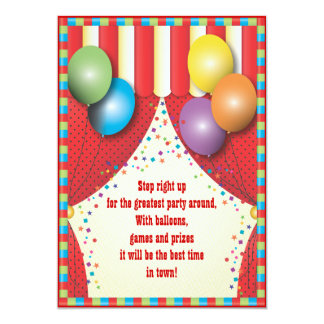 Circus Tent Carnival Birthday Party Invitation