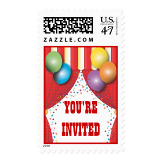 Circus Tent Carnival Birthday Party Postage
