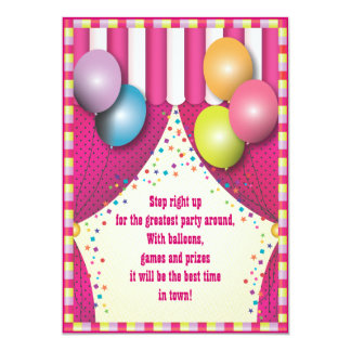 Circus Tent Carnival Girls Birthday Party 5x7 Paper Invitation Card
