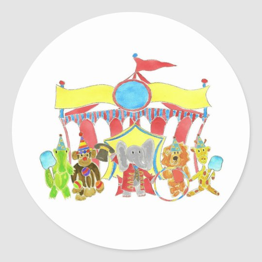 Circus Tent Critters Classic Round Sticker