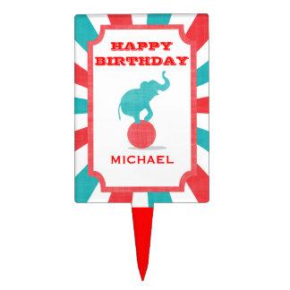 Circus Tent & Elephant Kids Birthday Cake Topper