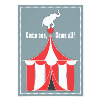 "Circus Tent & Elephant Kids Birthday Party 5"" X 7"" Invitation Card"