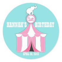 Circus Tent & Elephant Kids Birthday Party Sticker