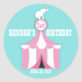 Circus Tent & Elephant Kids Birthday Party Sticker