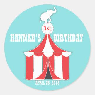 Circus Tent Elephant Kids Birthday Party Sticker