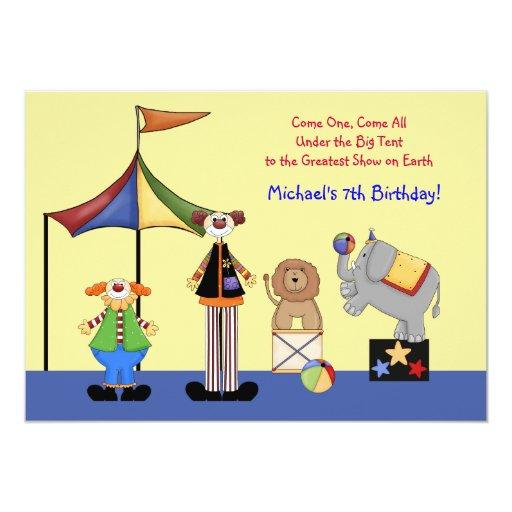 """Circus Tent Party Invitation 5"""" X 7"""" Invitation Card"""