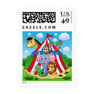circus tent postage stamp