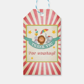 Circus thank you favor gift tags Carnival Vintage