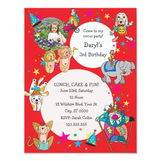 Circus Theme Children's Birthday Party Invitation