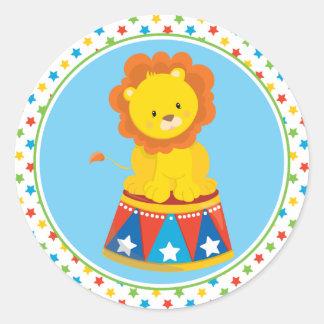 Circus Theme   Lion Classic Round Sticker