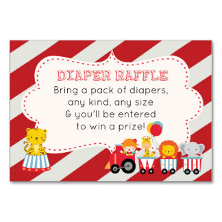 Circus Themed Baby Shower Diaper Raffle Card
