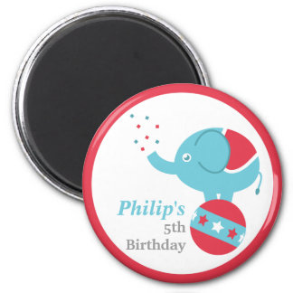 Circus Themed Birthday Party Favor with Elephant 2 Inch Round Magnet