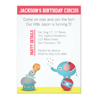 Circus Themed Birthday Party with Cute Animals Card