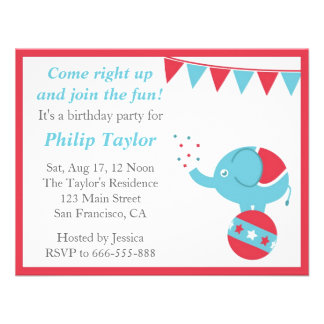 Circus Themed Birthday Party with Cute Elephant Custom Announcements