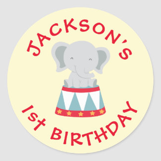 Circus Themed Birthday Sticker- Bday Labels