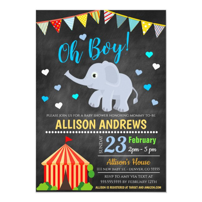 Circus Themed Boy Baby Shower Invitation