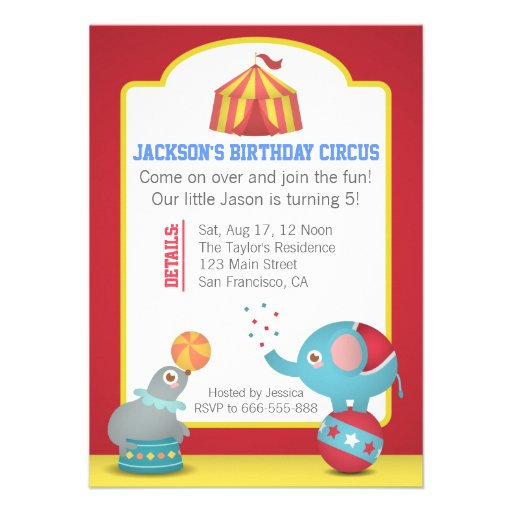 Circus Themed Fun Birthday Party with Cute Animals Personalized Invitation