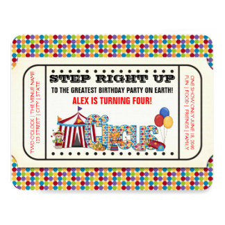 Circus Ticket Birthday Party 4.25x5.5 Paper Invitation Card