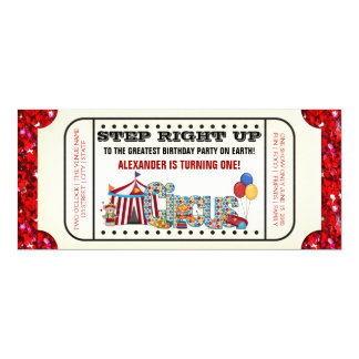 Circus Ticket Birthday Party 4x9.25 Paper Invitation Card
