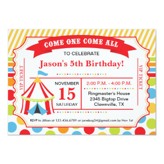 Circus Ticket Birthday Party 5x7 Paper Invitation Card