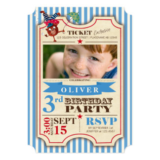 Circus Ticket   Birthday   Photo Party Invitation