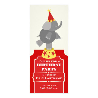 Circus Ticket Elephant Birthday Party Custom Announcements