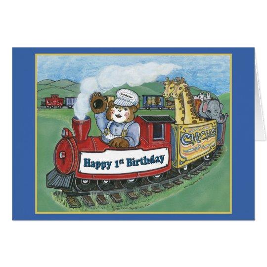 Circus Train 1st Birthday Card