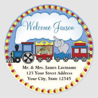 Circus Train Address Classic Round Sticker