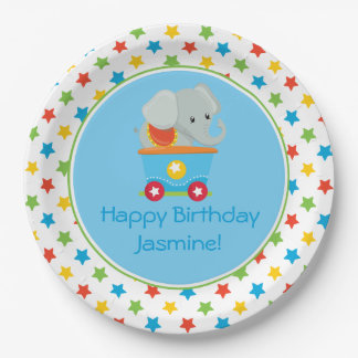 Circus Train | Elephant | Personalized Paper Plate