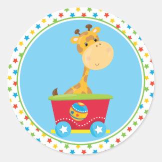 Circus Train   Giraffe Classic Round Sticker