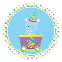 Circus Train | Hippo Classic Round Sticker
