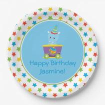Circus Train | Hippo | Personalized Paper Plate