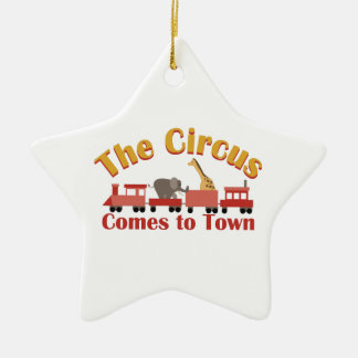 Circus Train Double-Sided Star Ceramic Christmas Ornament