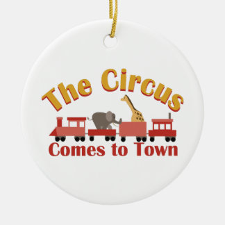 Circus Train Double-Sided Ceramic Round Christmas Ornament