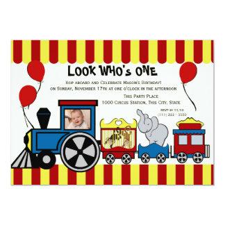 "Circus Train Photo 5"" X 7"" Invitation Card"