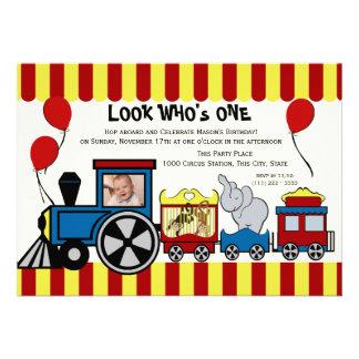 Circus Train Photo Custom Announcement