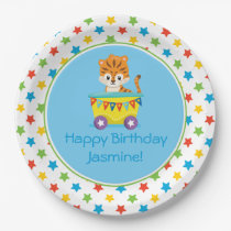 Circus Train | Tiger | Personalized Paper Plate