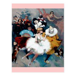 Circus vintage poster ballerina dogs trapez postcard