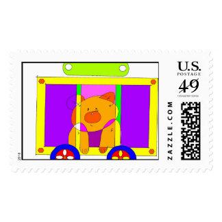 circus wagon 300dpi postage stamp