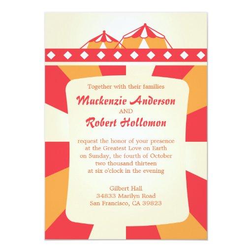 Circus Wedding Invitations - Red and Orange
