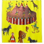 Circus yellow red children's shower curtain