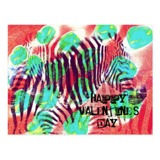 Circus zebra - happy Valentine's day Postcard