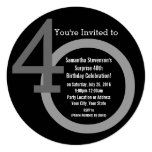 Cirle Round Numbers 40th Birthday Party Invitation