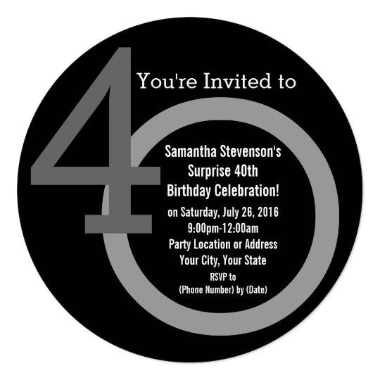 cirle round numbers 40th birthday party invitation zazzle com