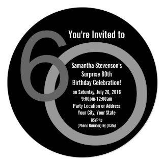 "Cirle Round Numbers 60th Birthday Party Invitation 5.25"" Square Invitation Card"