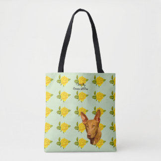Cirneco dell'Etna and Yellow Roses [Med.] Tote Bag