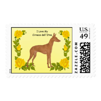 Cirneco dell'Etna and Yellow Roses Stamp
