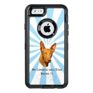 Cirneco dell'Etna on white starburst OtterBox Defender iPhone Case