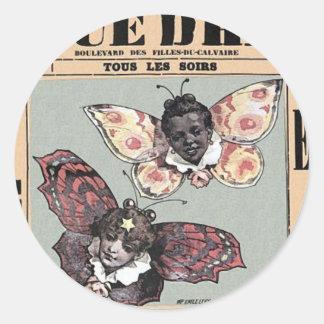 Cirque D'Hiver - Les Papillons Noir y Blanc Pegatina Redonda