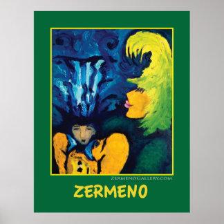 """""""Cirque Mère Et Enfant"""" (dark green) by Zermeno Poster"""